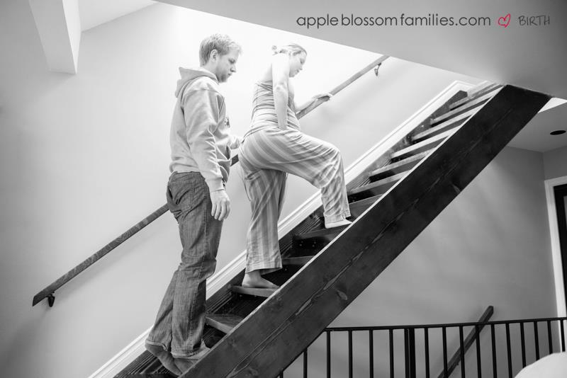 home birth, walking the stairs